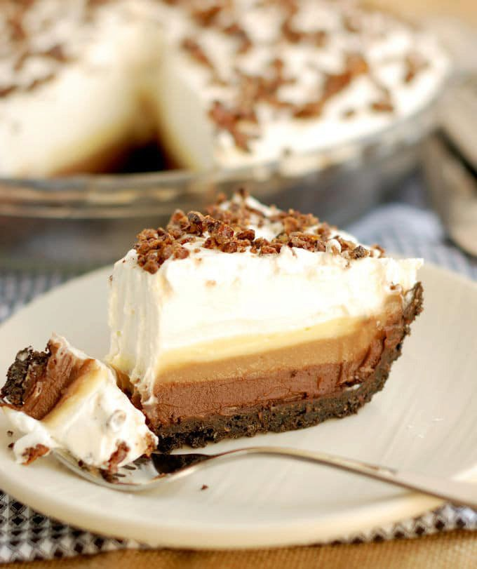 Triple Chocolate Cream Pie with Candied Cocoa Nibs