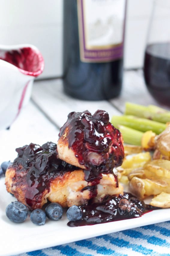 Barbecue Chicken with Pinot Noir Blueberry Sauce