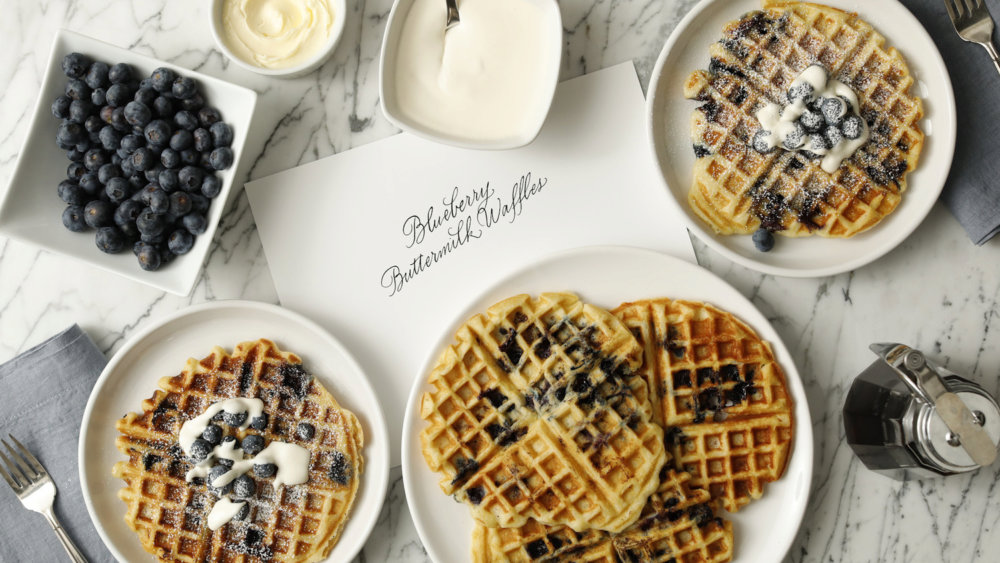 Buttermilk Waffles with Blueberries