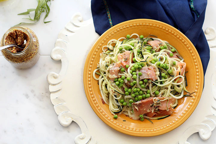 Mustard-Tarragon Zucchini Pasta Salad with Smoked Salmon and Peas
