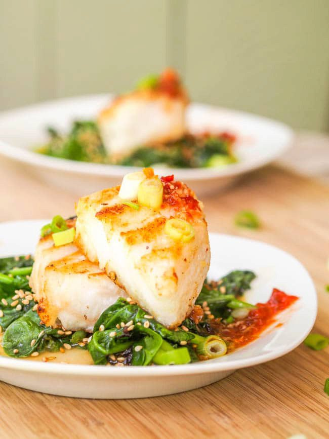 Chilean Sea Bass Recipe with Asian Glaze and Sesame Spinach {Gluten-Free, Dairy-Free}