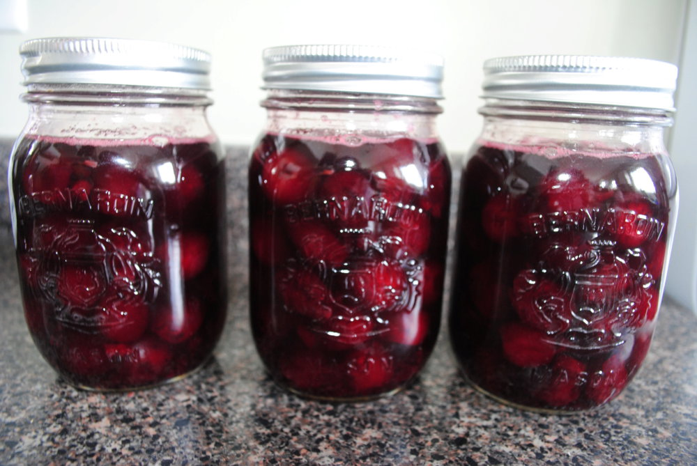 Simple Preserved Cherries with Brandy