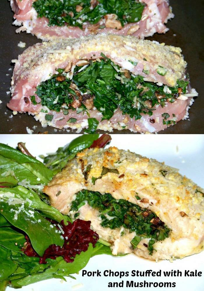 Savory Pork Chops Stuffed with Kale and Mushrooms