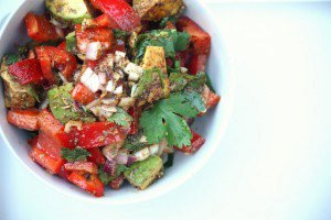 Mexican-Style Chopped Salad With Avocado, Red Bell Pepper, Cilantro & Lime