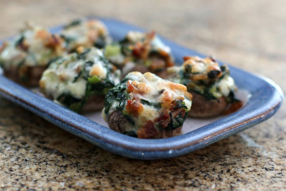 Fontina, Spinach, and Bacon Stuffed Mushrooms