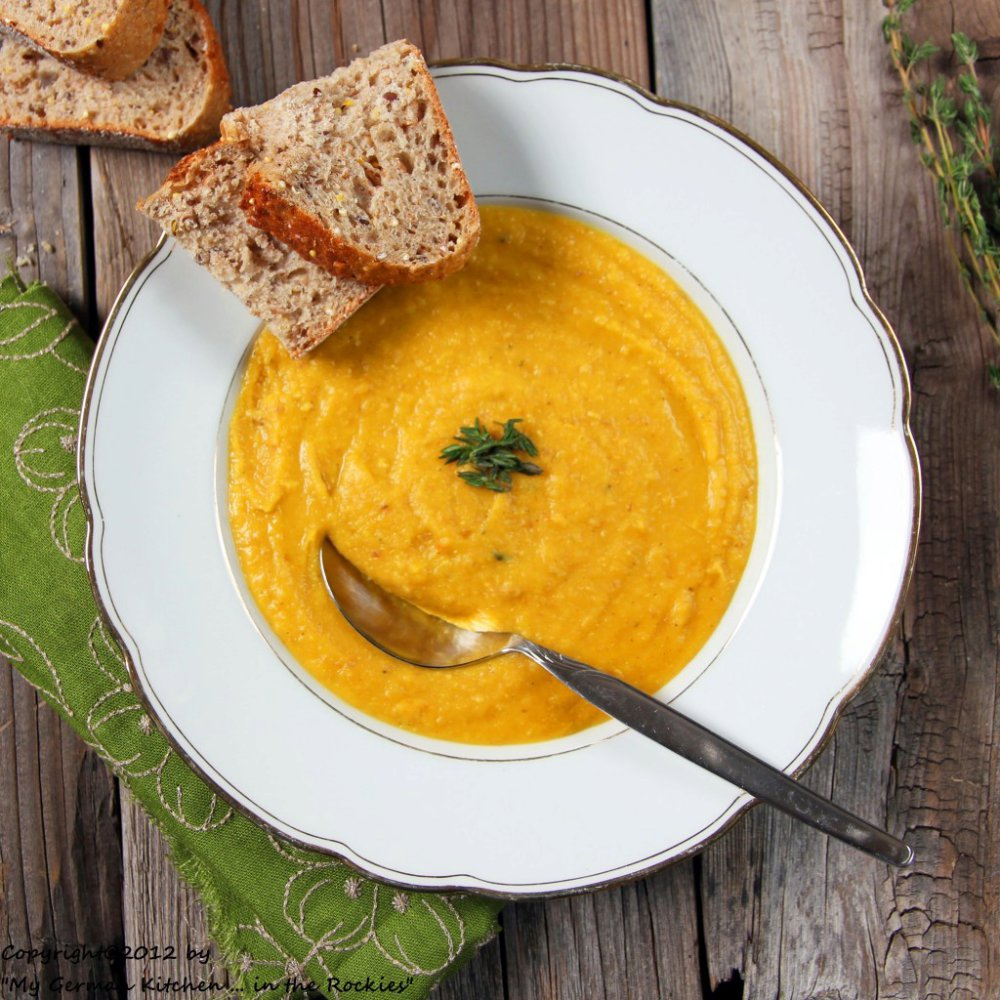 Organic Yellow Split Pea Soup with Bacon and Thyme