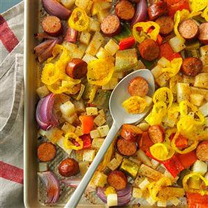 Spicy Roasted Sausage, Potatoes and Peppers Recipe