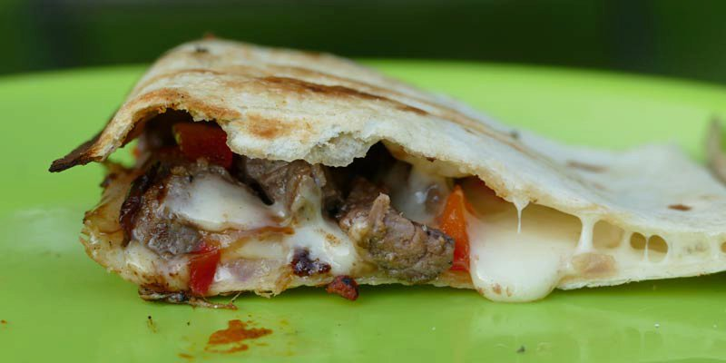 Camping Pie Iron Philly Cheese Steak Quesadilla