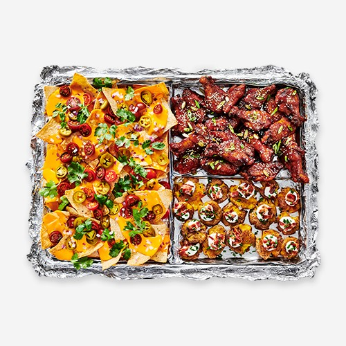 Sheet Pan Trio: Nachos, Sesame Ginger Wings, and Smashed Loaded Potatoes