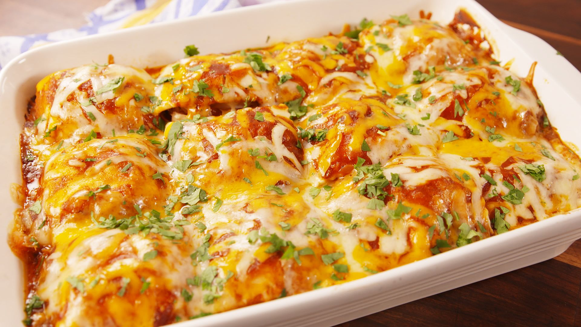 Chicken Enchilada Ravioli Bake