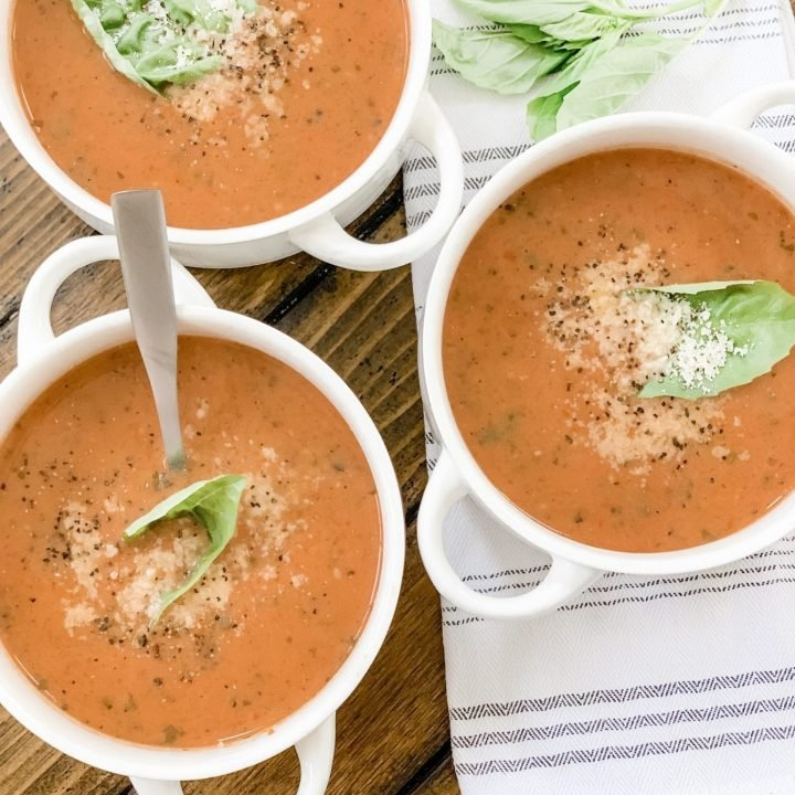 Easy Low Point Fire-Roasted Tomato Basil Soup