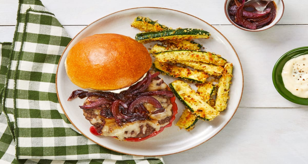Melty Monterey Jack Burgers with Red Onion Jam, Garlic Mayo, and Crispy Breaded Zucchini