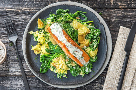 Grilled Salmon with Dill Crushed Potatoes
