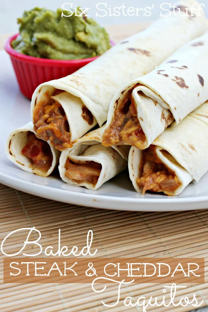 Baked Steak and Cheddar Taquitos