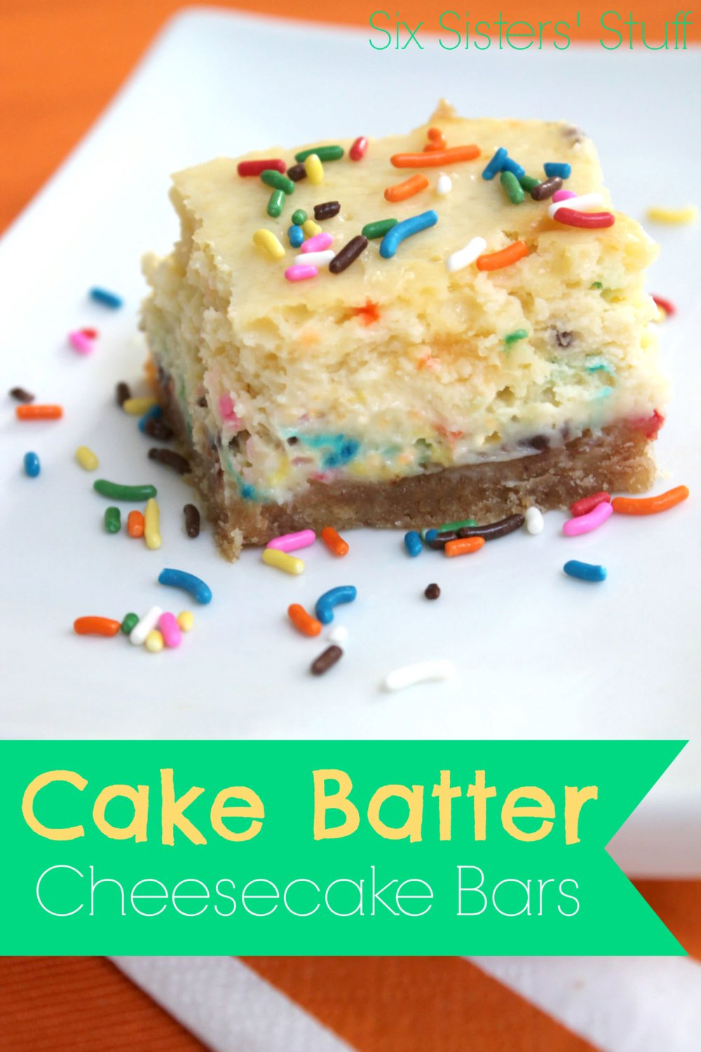 Cake Batter Cheesecake Bars Recipe