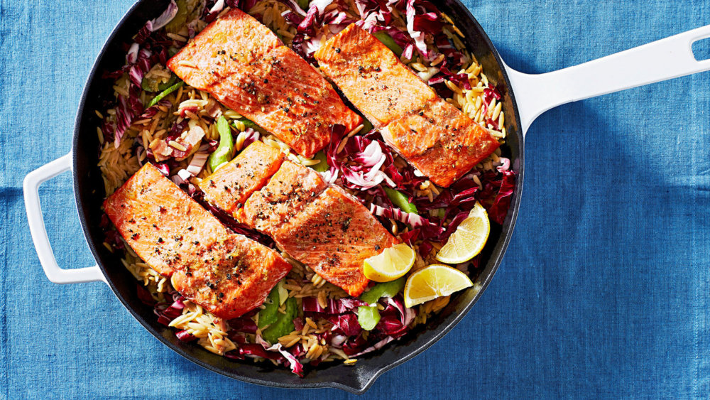 Baked Salmon with Creamy Orzo