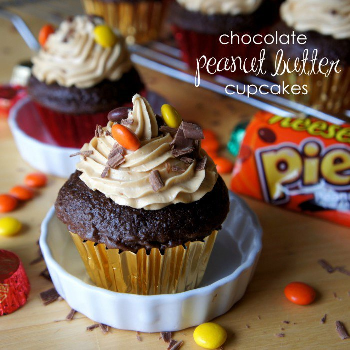 Chocolate and Peanut Butter Cup Cakes with Peanut Butter Buttercream Frosting