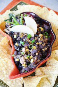 Cuban Black Bean Dip with Roasted Corn, Apples & Kale + A Giveaway!