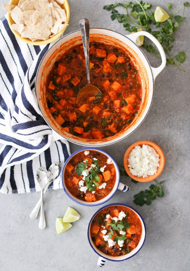 Mexican Sweet Potato and Black Bean Stew with Quinoa and Kale