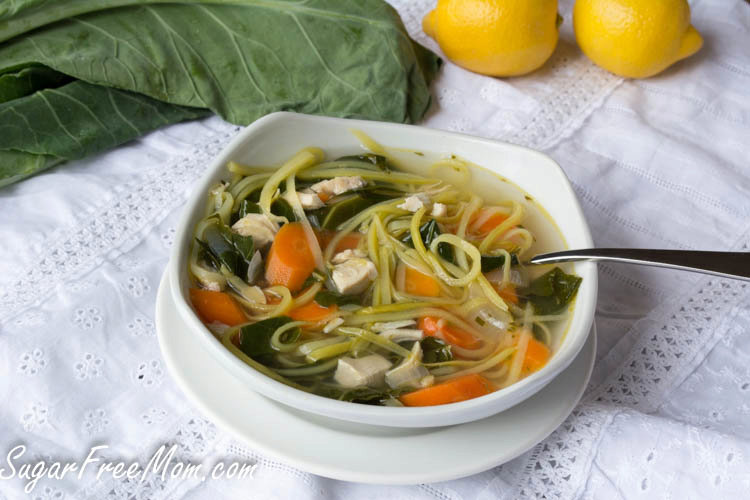 Lightened Up Chicken Kale Zoodle Soup {Low Carb & Gluten Free}