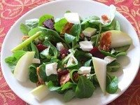 Mache Salad with Pear, Goat Cheese, Beets and Walnuts