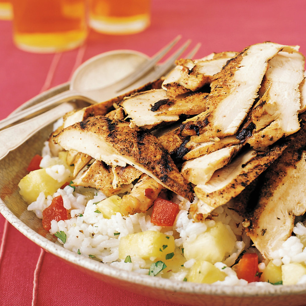 Jerk Chicken with Pineapple-Cilantro Rice