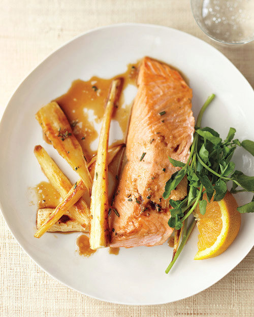 Roasted Salmon with Parsnips and Ginger