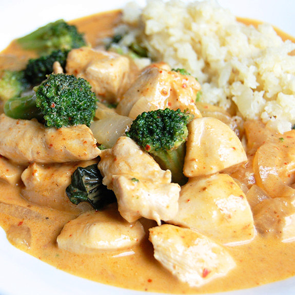 Chicken Panang Curry with Cauliflower Rice