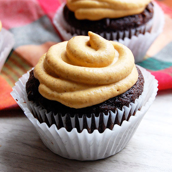 Double Chocolate Cupcakes with Pumpkin Frosting