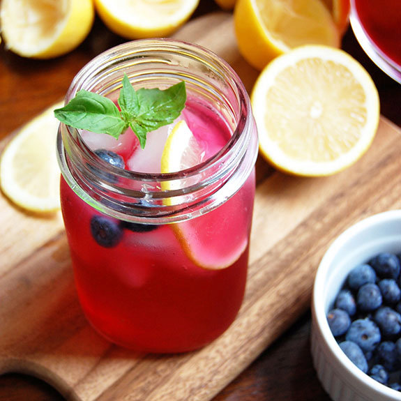 Blueberry Basil Lemonade (with Honey)