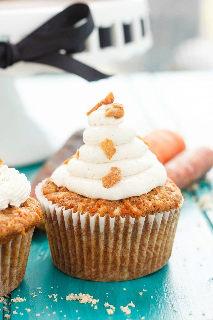Carrot Cake Cupcakes with Brown Sugar Swiss Meringue Buttercream