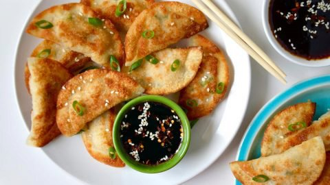 Easy Chicken Potstickers with Soy Dipping Sauce