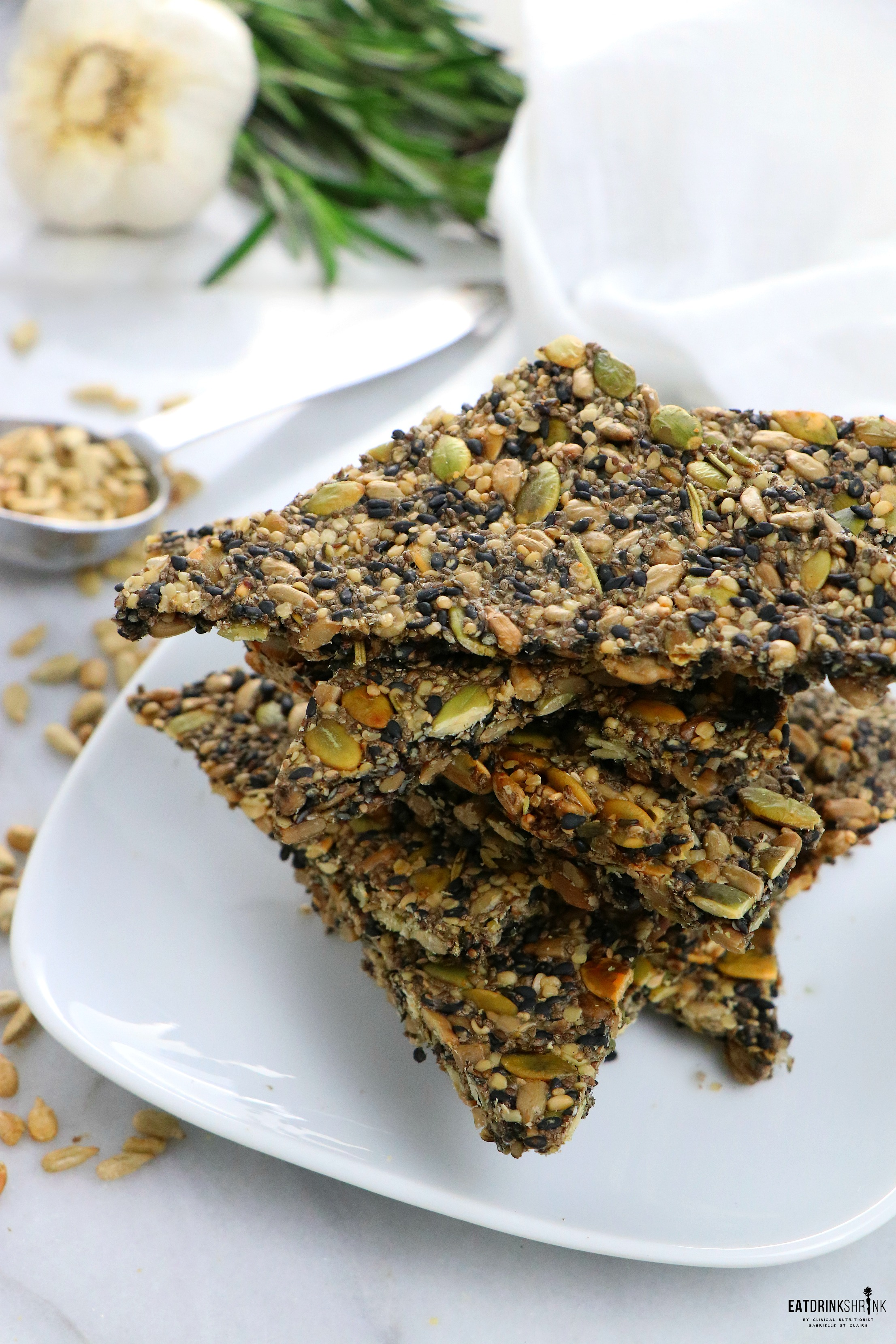 Vegan Garlic & Rosemary Seed Crackers