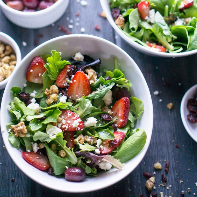 Strawberry Spring Salad with Candied Walnuts and Lemon Dijon Vinaigrette
