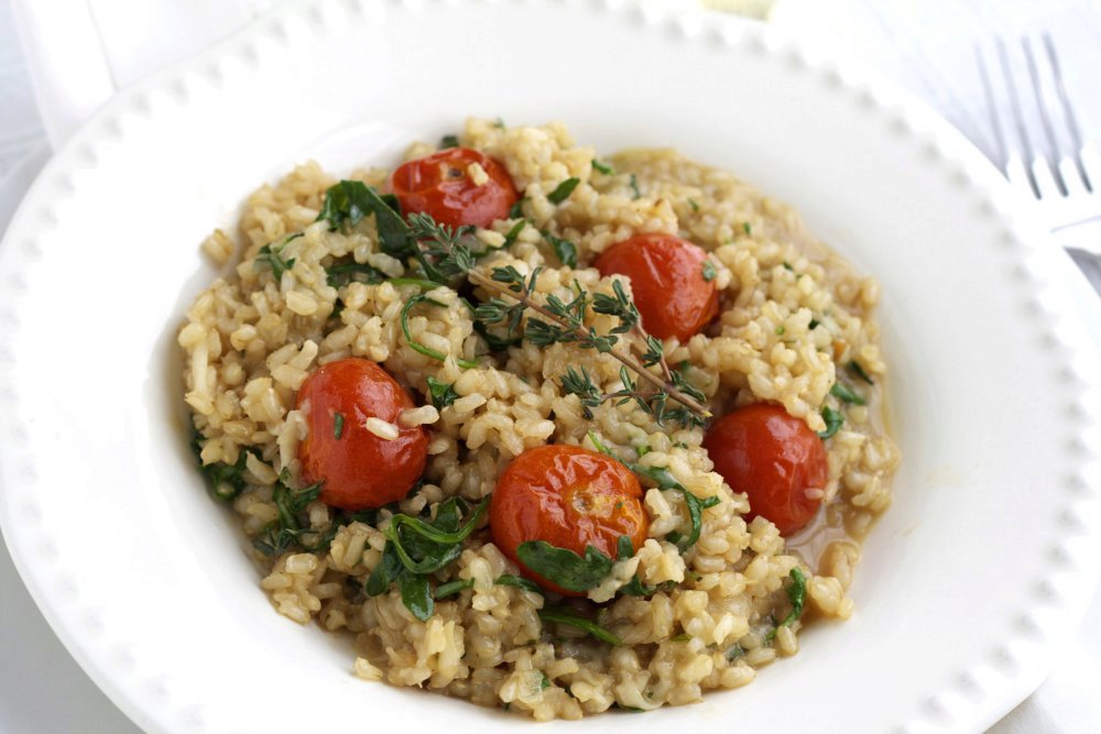 Brown Rice Risotto with Roasted Cherry Tomatoes