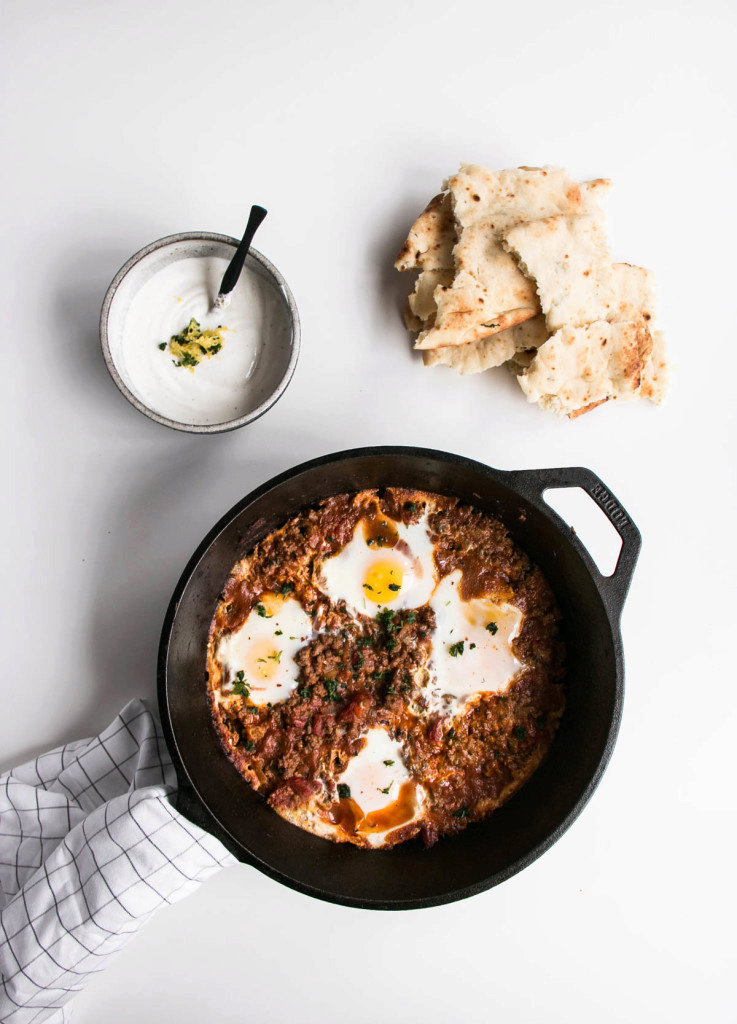 Iraqi Eggs with Lamb and Tomatoes