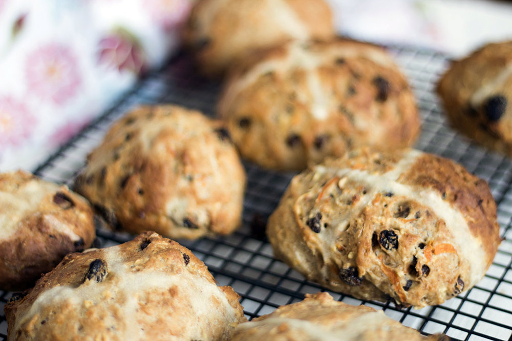 Apple and carrot vegan hot cross buns