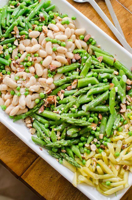 Three-bean garden salad with asparagus and coconut dressing