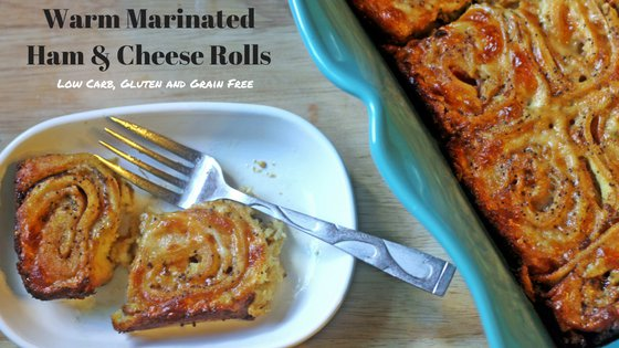 Warm Marinated Ham & Cheese Rolls