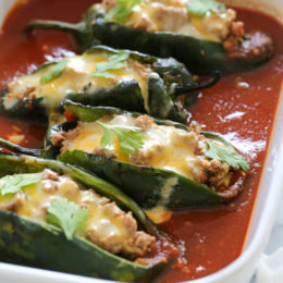 Turkey Enchilada Stuffed Poblanos Rellenos