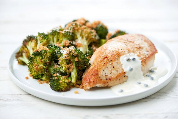 Chicken with Green Peppercorn Sauce and panko-crusted broccoli