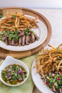 Portabella Steaks Chimichurri (With Oil-Free Shoestring Fries)