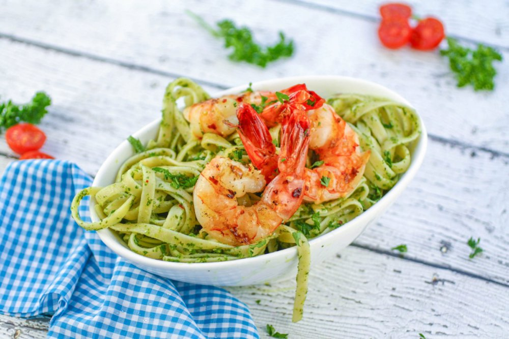 Grilled Shrimp and Chimichurri Pasta