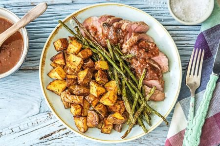 Figgy Balsamic Pork with Roasted Green Beans and Rosemary Potatoes