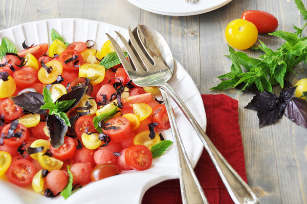 Watermelon & Heirloom Tomato Salad with Mint Dressing