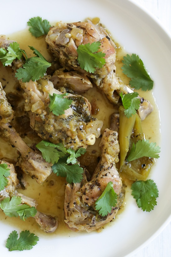 Easy Braised Chicken Drumsticks in Tomatillo Sauce (Instant Pot, Slow Cooker or Stove Top)