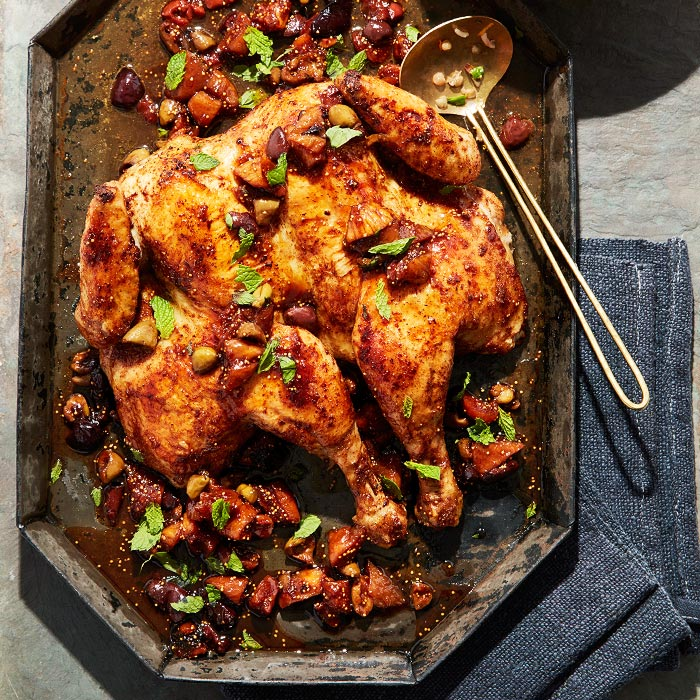Spiced Pan-Roasted Chicken with Olives, Figs, and Mint