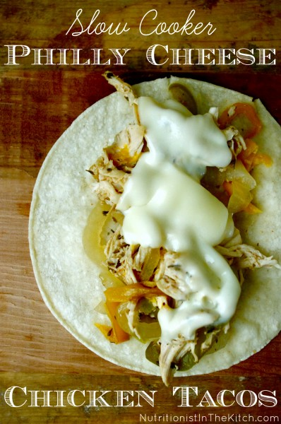 Slow Cooker Philly Cheese Chicken Tacos (gluten free!)