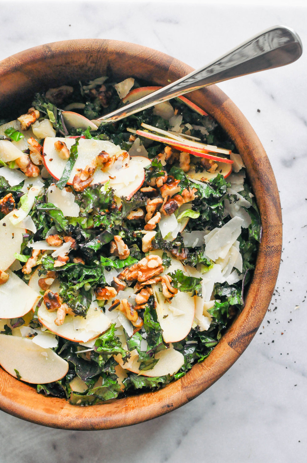 Shredded Brussels Sprouts, Kale, and Apple Salad