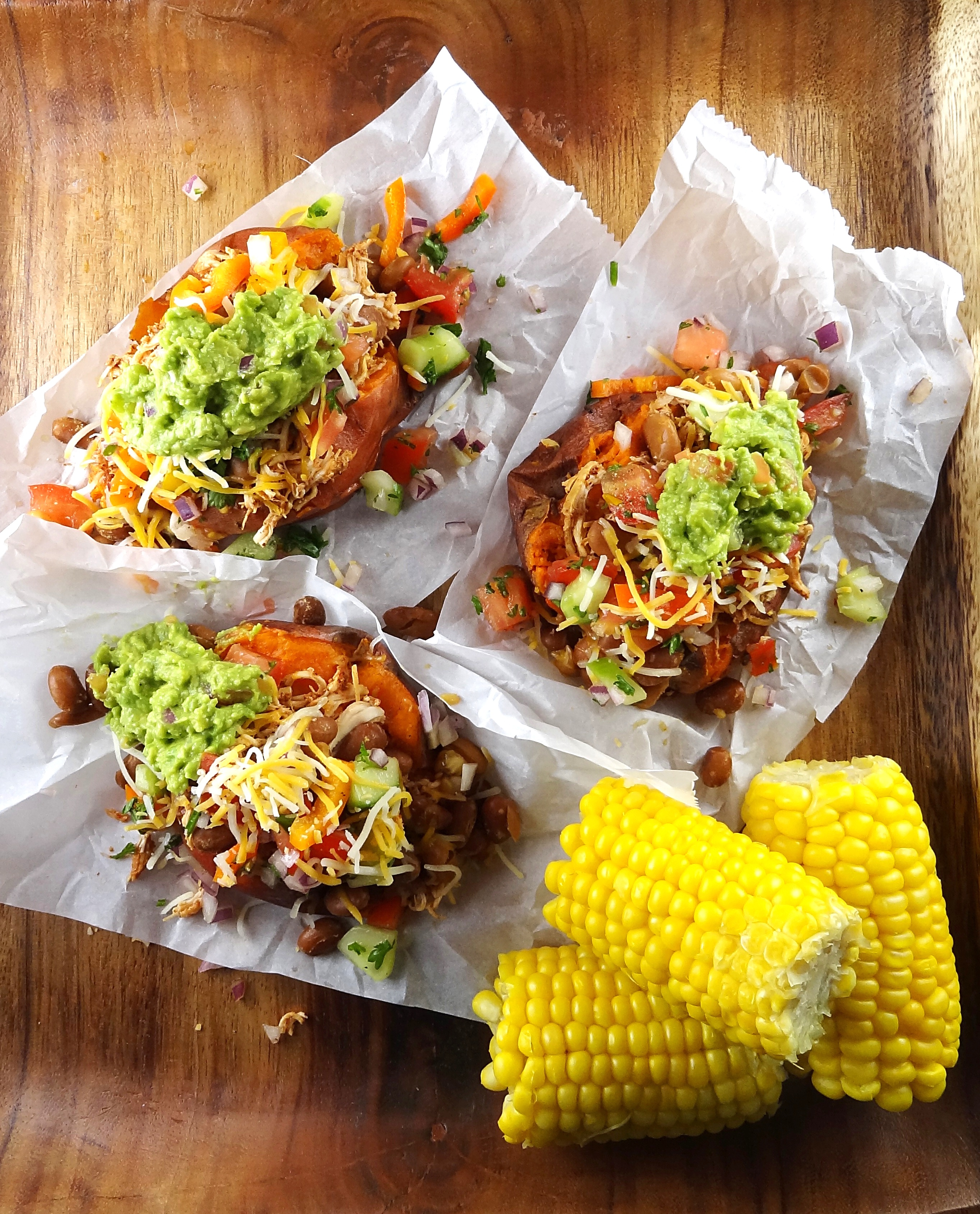 Chicken Taco Baked Sweet Potatoes